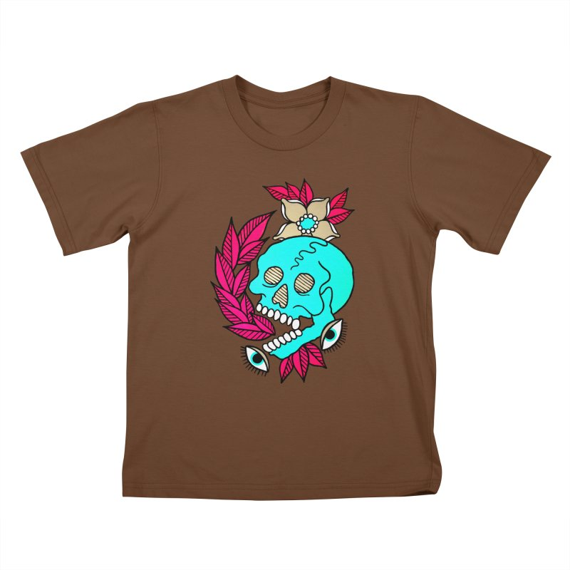 Blue Skull Kids T-Shirt by pesst's Artist Shop