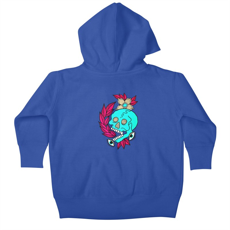 Blue Skull Kids Baby Zip-Up Hoody by pesst's Artist Shop