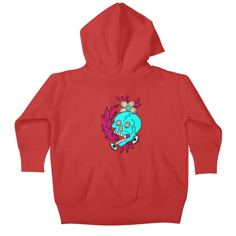 Blue Skull Kids Baby Zip-Up Hoody by pesst's Artist Shop
