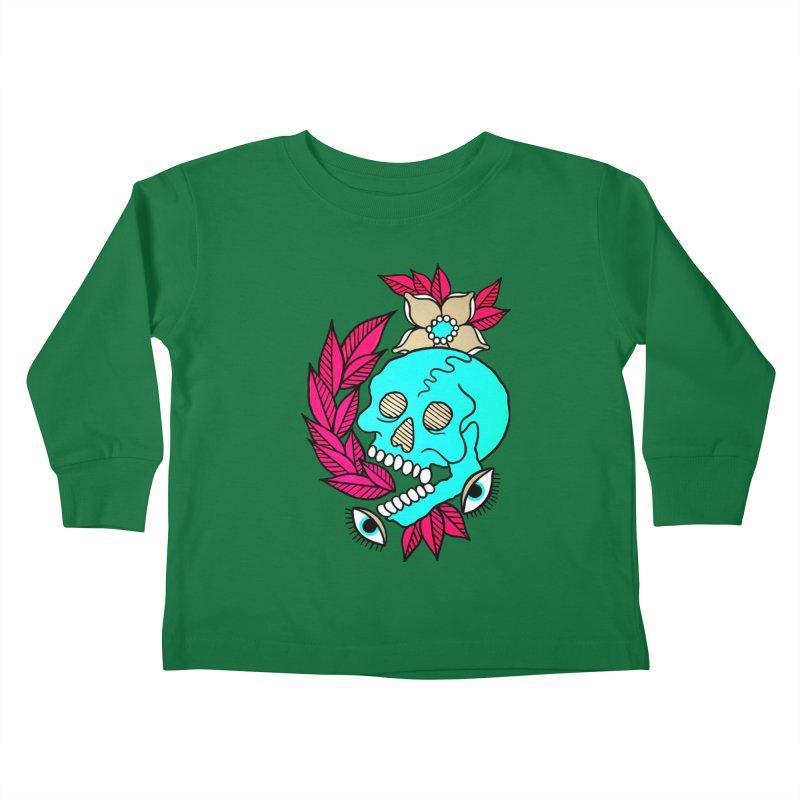 Blue Skull Kids Toddler Longsleeve T-Shirt by pesst's Artist Shop