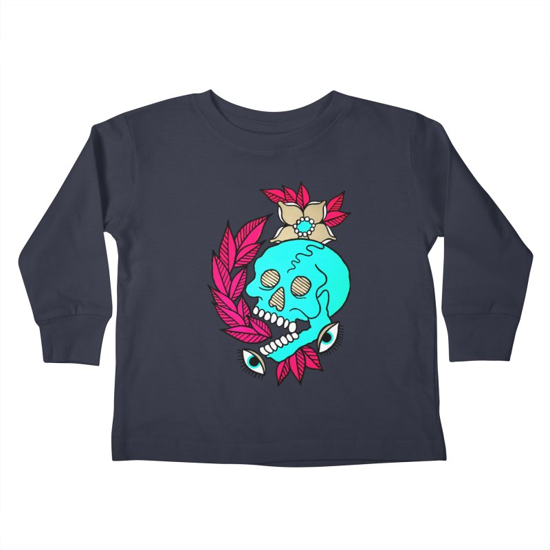 Blue Skull Kids Toddler Longsleeve T-Shirt by pesst's Artist Shop