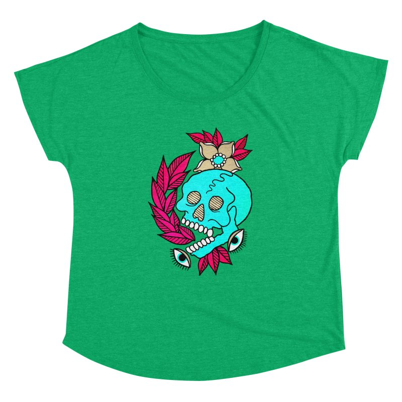 Blue Skull Women's Dolman Scoop Neck by pesst's Artist Shop