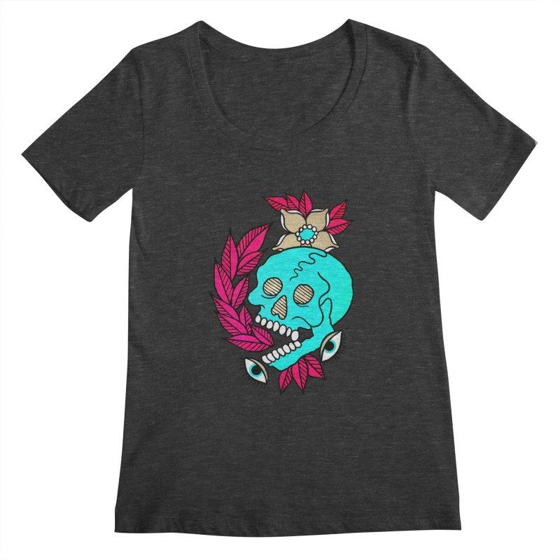 Blue Skull Women's Scoopneck by pesst's Artist Shop