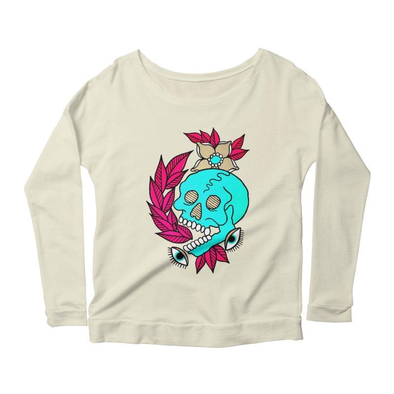 Blue Skull Women's Scoop Neck Longsleeve T-Shirt by pesst's Artist Shop