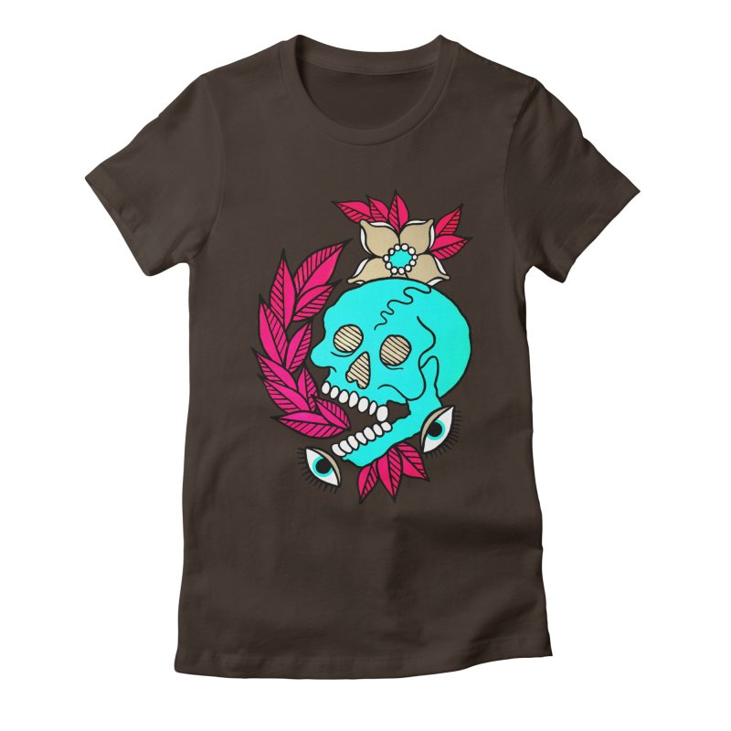 Blue Skull Women's Fitted T-Shirt by pesst's Artist Shop