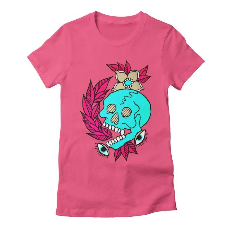 Blue Skull Women's Fitted T-Shirt by pesst's Artist Shop