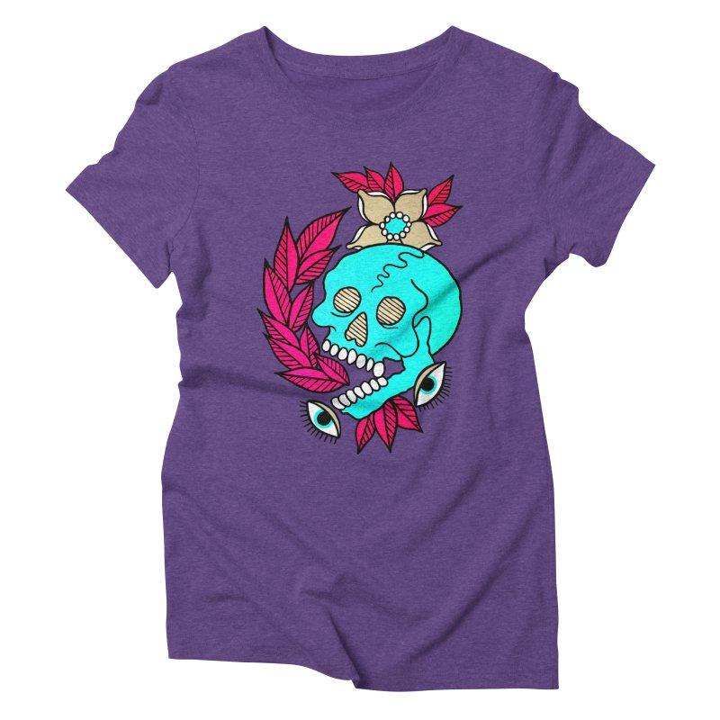 Blue Skull Women's Triblend T-Shirt by pesst's Artist Shop