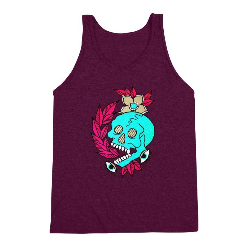 Blue Skull Men's Triblend Tank by pesst's Artist Shop