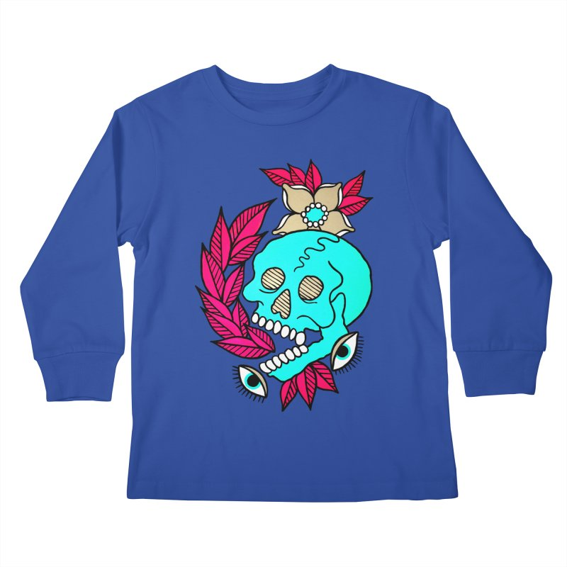 Blue Skull Kids Longsleeve T-Shirt by pesst's Artist Shop