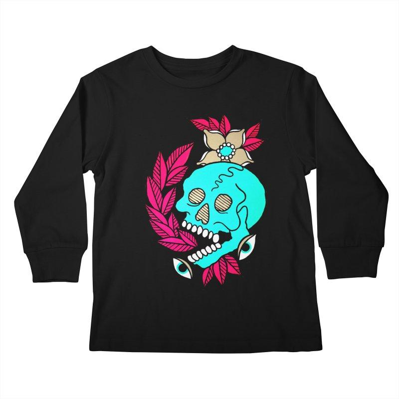 Blue Skull Kids Longsleeve T-Shirt by pesst's Artist Shop