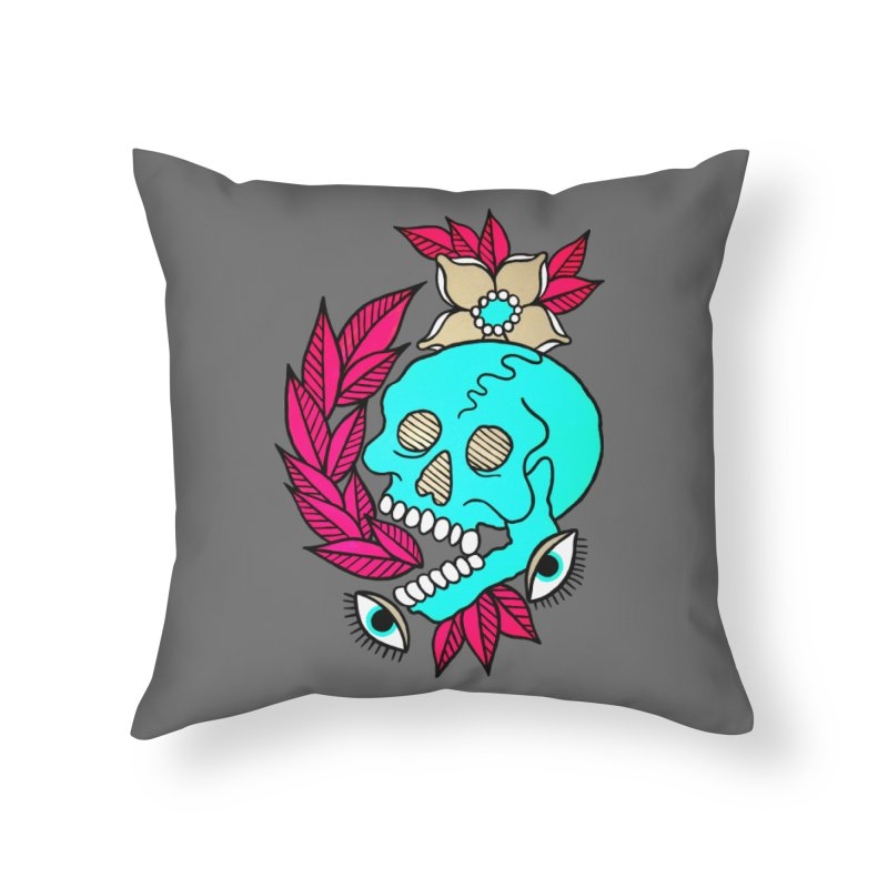 Blue Skull Home Throw Pillow by pesst's Artist Shop