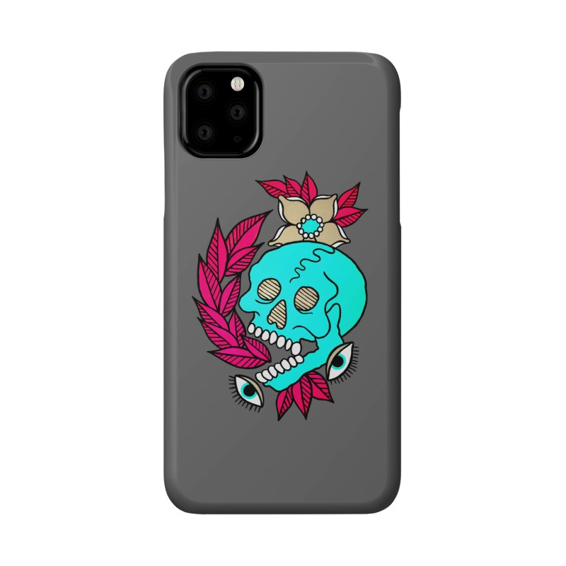 Blue Skull Accessories Phone Case by pesst's Artist Shop