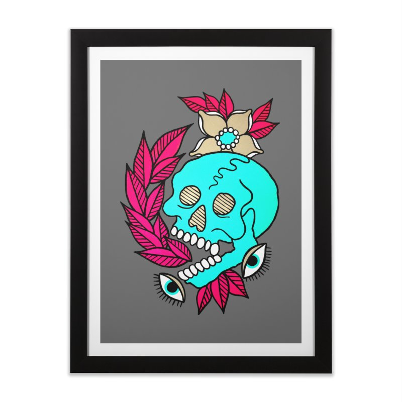 Blue Skull Home Framed Fine Art Print by pesst's Artist Shop