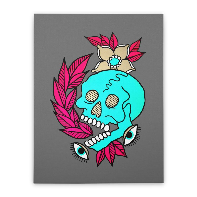 Blue Skull Home Stretched Canvas by pesst's Artist Shop