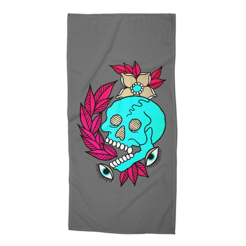 Blue Skull Accessories Beach Towel by pesst's Artist Shop
