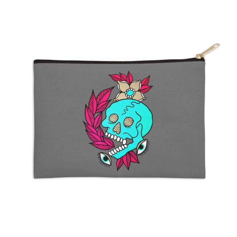 Blue Skull Accessories Zip Pouch by pesst's Artist Shop
