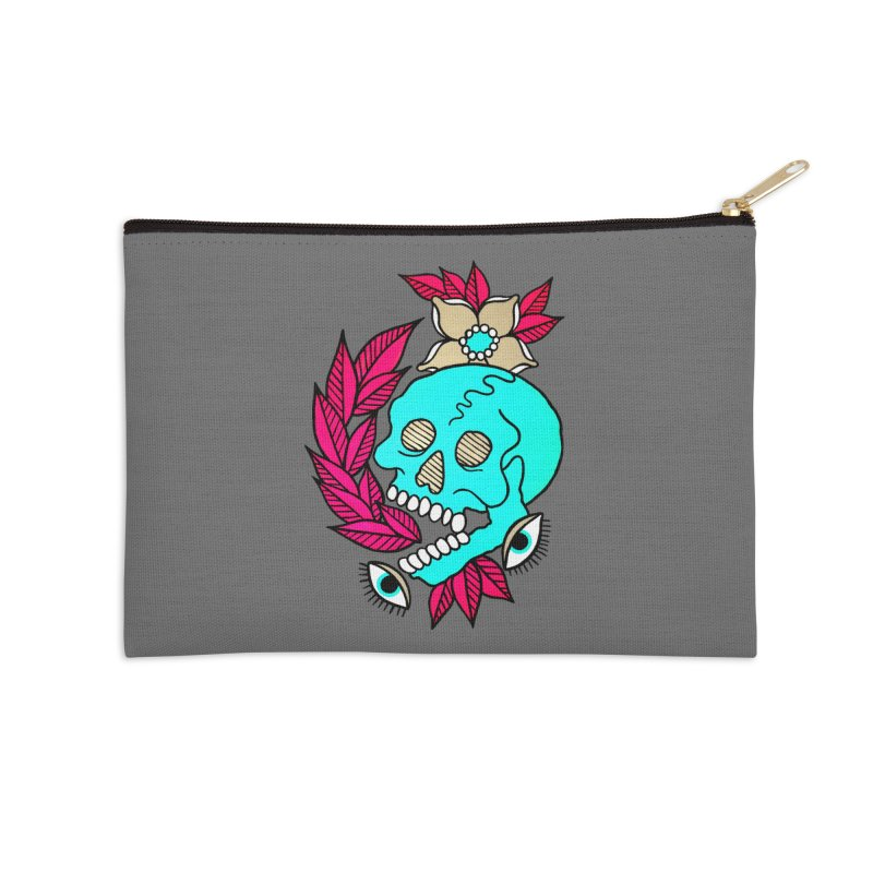 Blue Skull Accessories Zip Pouch by pesst's Artist Shop