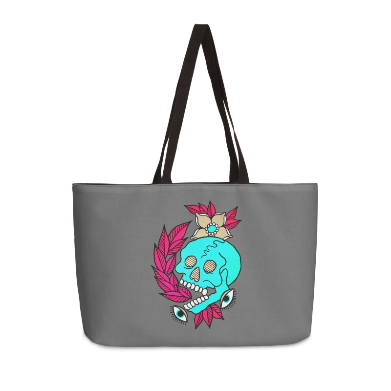 Blue Skull Accessories Weekender Bag Bag by pesst's Artist Shop