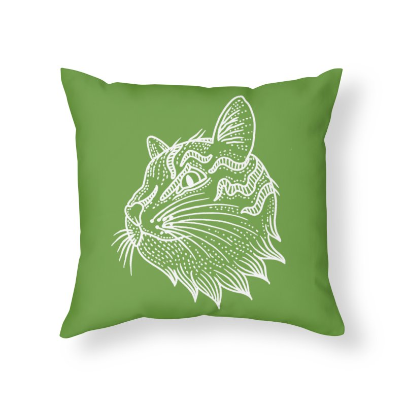 Smart Kitty Home Throw Pillow by pesst's Artist Shop