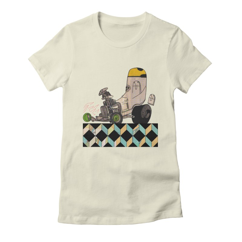 hotrod explosion Women's Fitted T-Shirt by peterthompson's Artist Shop