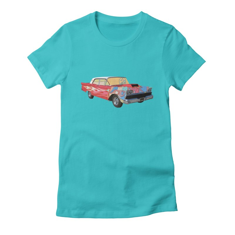 foolish hotrod Women's Fitted T-Shirt by peterthompson's Artist Shop