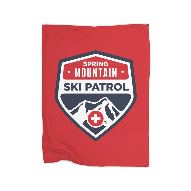 Spring Mountain Ski Patrol Home Fleece Blanket Blanket by Walters Media & Design