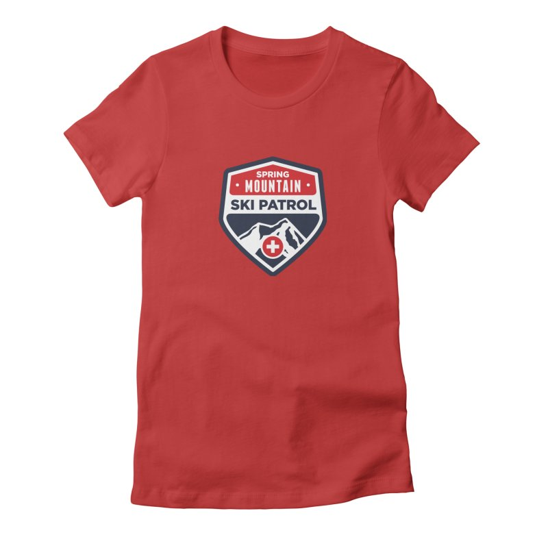Spring Mountain Ski Patrol in Women's Fitted T-Shirt Red by Walters Media & Design