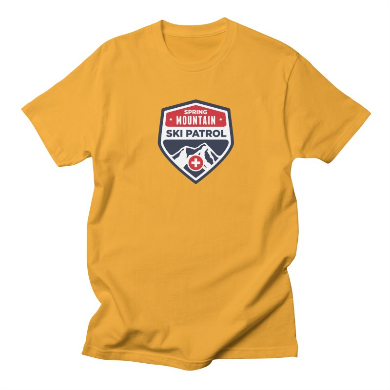 Spring Mountain Ski Patrol in Men's Regular T-Shirt Gold by Walters Media & Design