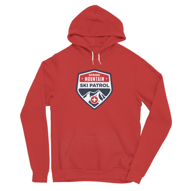 Spring Mountain Ski Patrol Classic Logo in Men's Sponge Fleece Pullover Hoody Red by Walters Media & Design