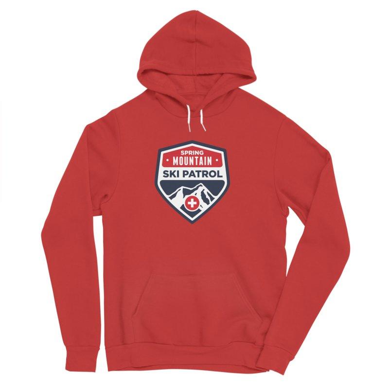 Spring Mountain Ski Patrol Classic Logo in Men's Sponge Fleece Pullover Hoody Red by Walters Media & Design