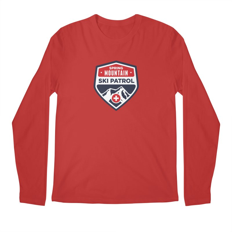 Spring Mountain Ski Patrol Classic Logo in Men's Regular Longsleeve T-Shirt Red by Walters Media & Design