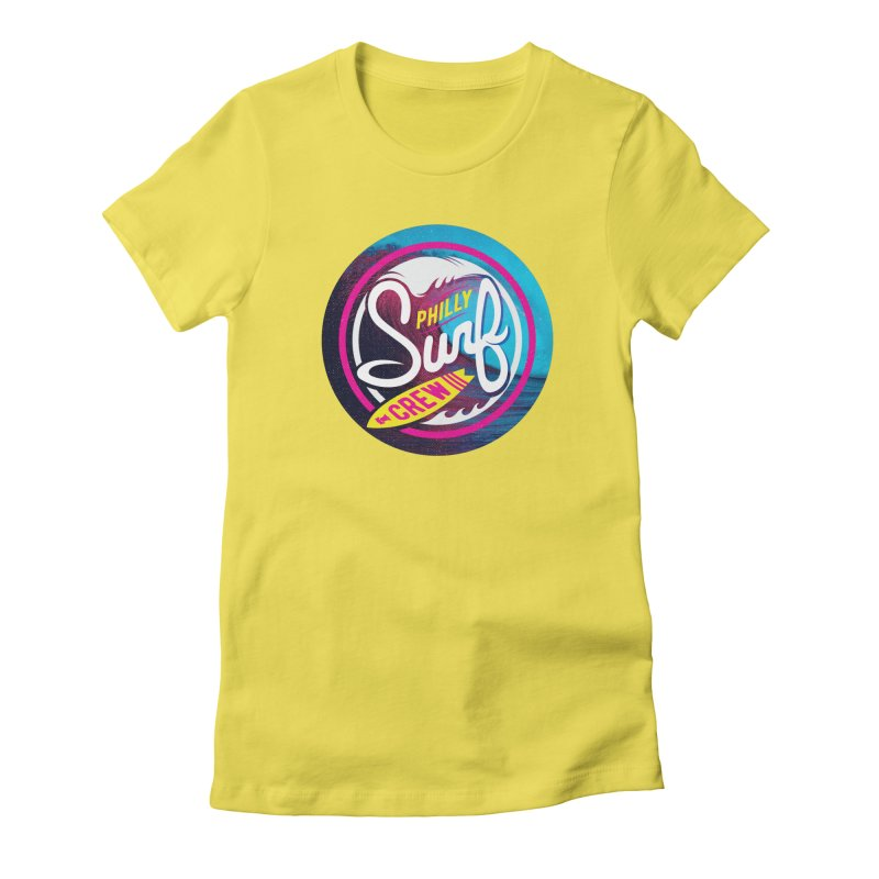 PSC 80s neon in Women's Fitted T-Shirt Vibrant Yellow by Walters Media & Design