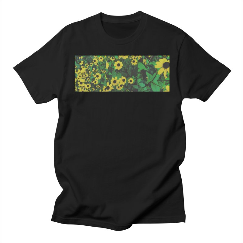 Yellow Flowers in Men's T-Shirt Black by Petty Designs