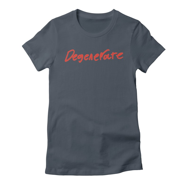 Degenerate. Red Handed Women's Fitted T-Shirt by Petty Designs