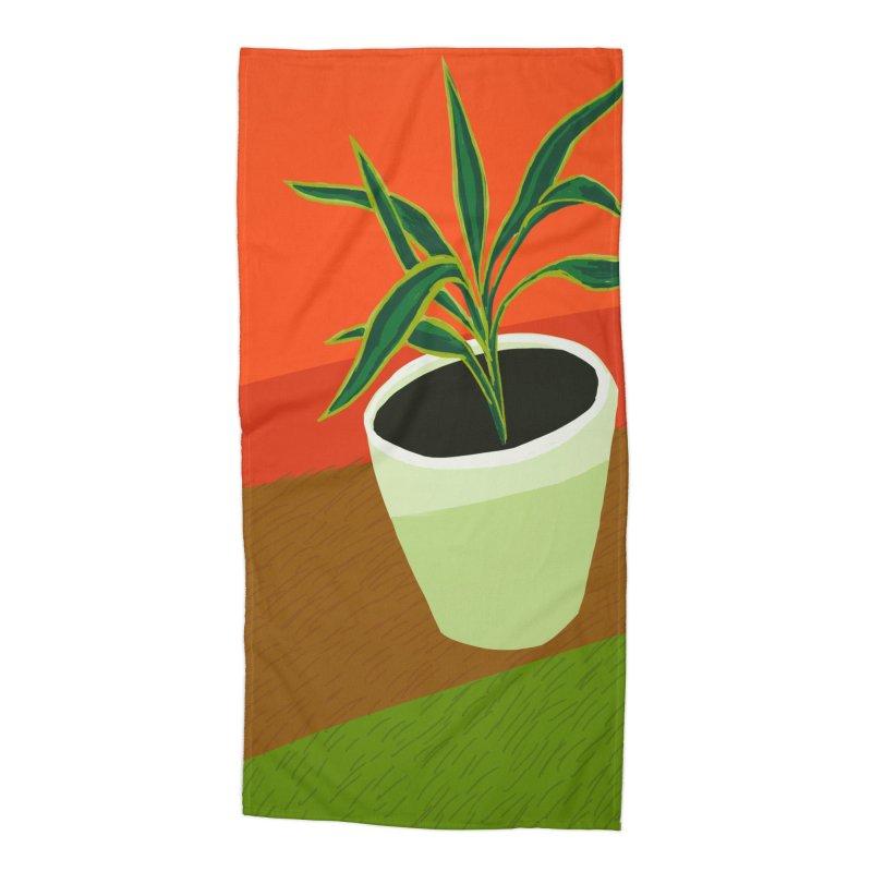 Plant on Red Accessories Beach Towel by Michael Pfleghaar