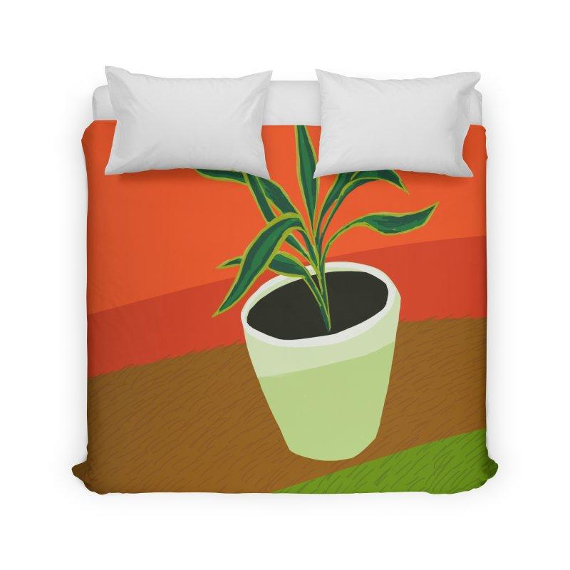 Plant on Red Home Duvet by Michael Pfleghaar