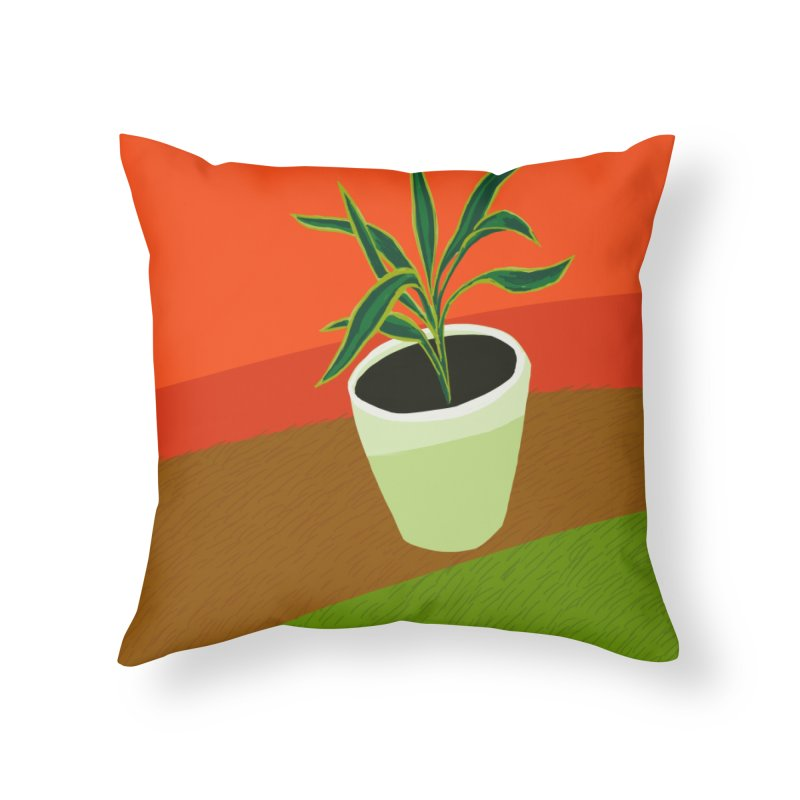 Plant on Red Home Throw Pillow by Michael Pfleghaar