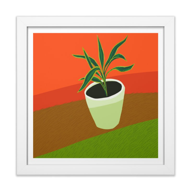 Plant on Red in Framed Fine Art Print White by Michael Pfleghaar