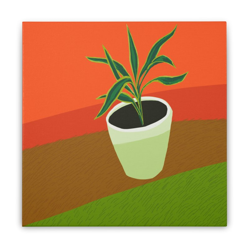 Plant on Red Home Stretched Canvas by Michael Pfleghaar
