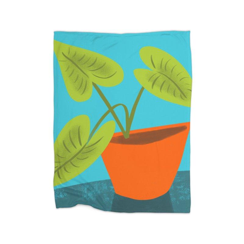 Seedlings on Aqua Home Fleece Blanket Blanket by Michael Pfleghaar