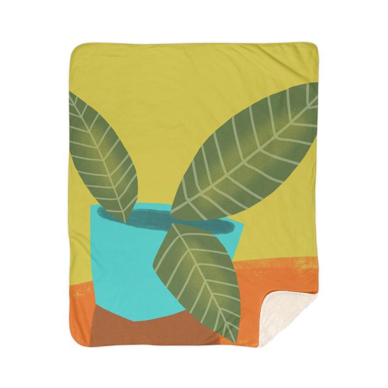 Seedlings on Yellow Home Sherpa Blanket Blanket by Michael Pfleghaar