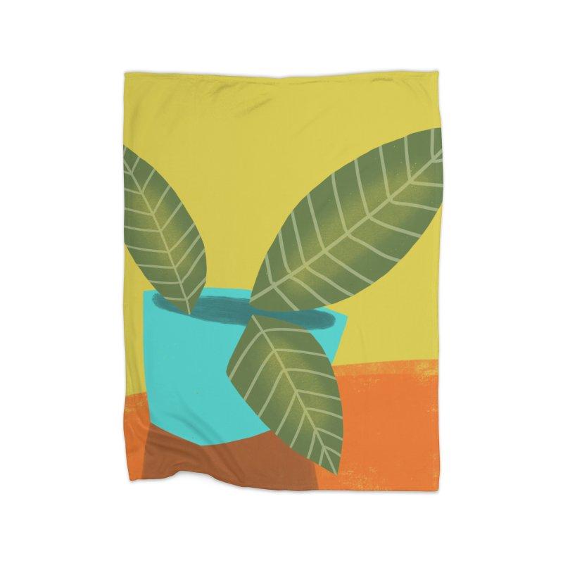 Seedlings on Yellow Home Fleece Blanket Blanket by Michael Pfleghaar