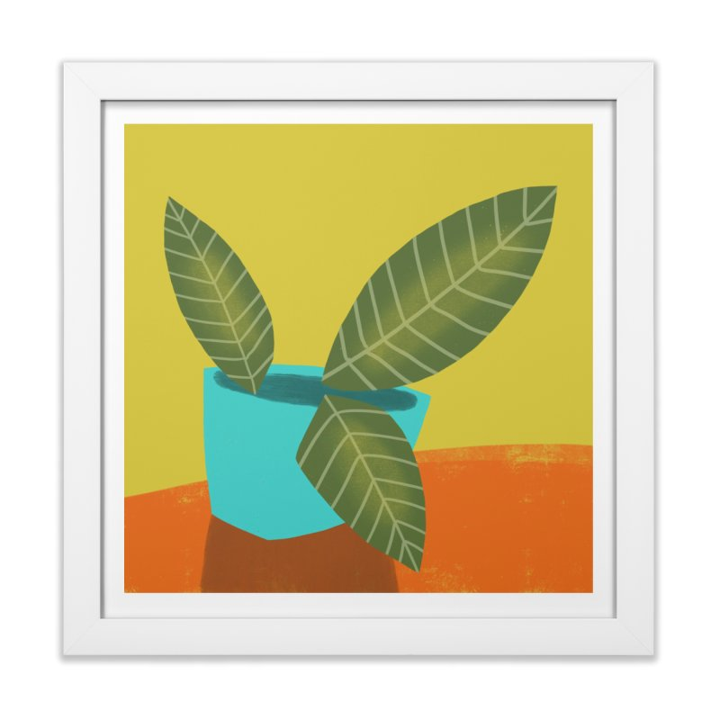 Seedlings on Yellow in Framed Fine Art Print White by Michael Pfleghaar