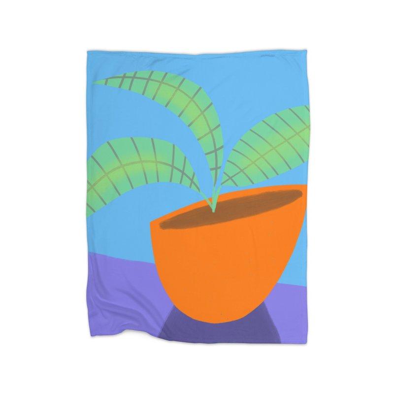 Seedlings on Blue Home Fleece Blanket Blanket by Michael Pfleghaar