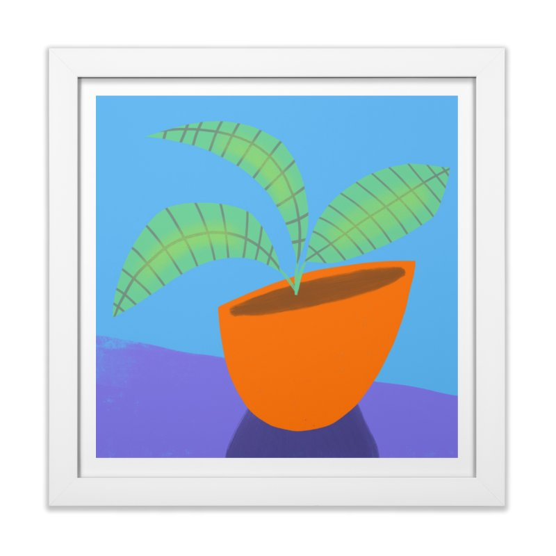 Seedlings on Blue in Framed Fine Art Print White by Michael Pfleghaar
