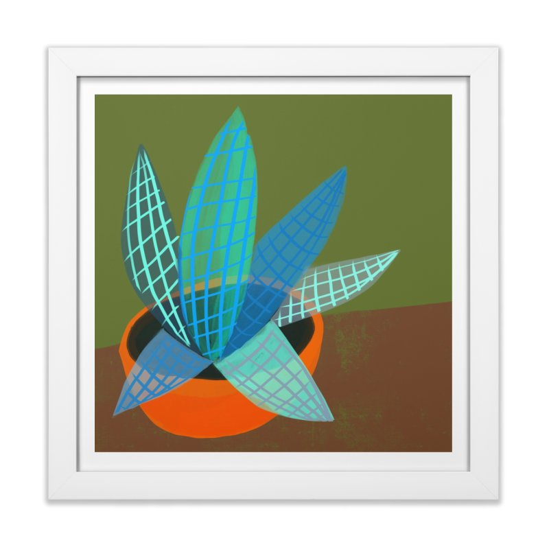 Grid Plant 2 in Framed Fine Art Print White by Michael Pfleghaar