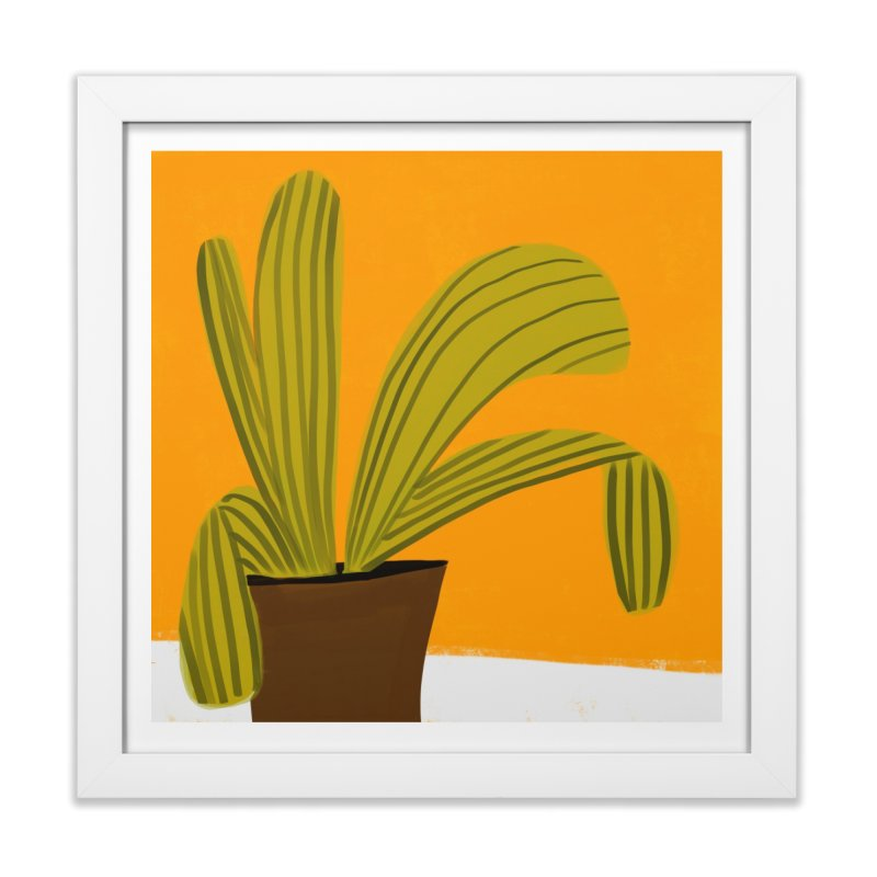 Striped Plant 1 in Framed Fine Art Print White by Michael Pfleghaar