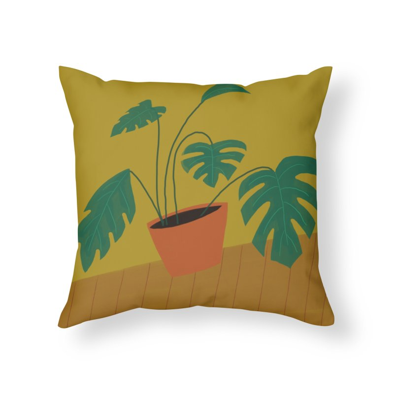 Split Leaf Philodendron in Throw Pillow by Michael Pfleghaar