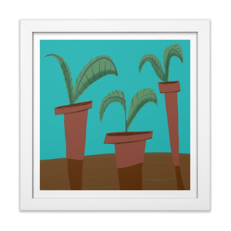 Tropical Trio in Framed Fine Art Print White by Michael Pfleghaar