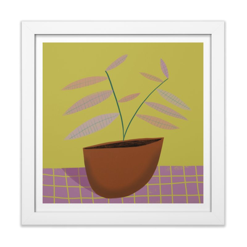 Pastel Plant 2 in Framed Fine Art Print White by Michael Pfleghaar